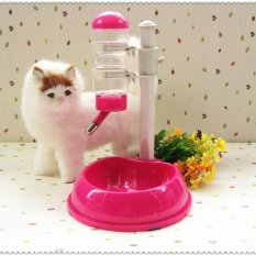 Adjustable Automatic Anjing Kucing Minum Air Mancur Air Pengumpan Dispenser PET Mangkuk Pengumpan Makanan PET Mangkuk Air, Pink-Intl