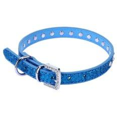 Bisa Disesuaikan Rhinestone Dog Collar Kalung Bling Baju Berkerah untuk Binatang Piaraan Pu (biru S)-Intl