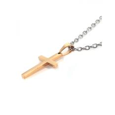 Agen X Pria Pendant Holy Dipoles Golden Cross Stainless Steel dengan Rantai Aap101
