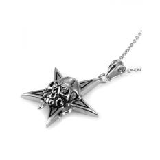 Agen X MEN's Skull Star Stainless Steel Pendant Necklace AAP339