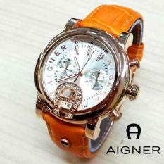 AGNL02OWG Jam Tangan Wanita Aigner Bari Donna Kulit Orange Ring Gold