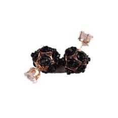 Ai Home Wanita Putri Elegan Rose Bunga Crystal Rhinestone Stud Earring Perhiasan (Hitam)-Intl