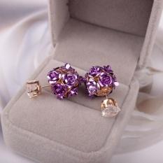 Ai Home Wanita Putri Elegan Rose Bunga Crystal Rhinestone Stud Earring Perhiasan (Ungu)-Intl