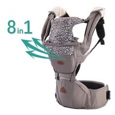 Aiebao 360 Semua Posisi Pembawa Ergonomic Bayi Carrier Ransel dengan Panggul Kursi Depan dan Belakang Ransel Doll Carrier untuk Anak-anak /Balita/Bayi/Baru Ayah/Ibu dengan Kantong (Abu-abu) -Internasional