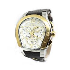 Aigner Palermo - Jam Tangan Pria - Silver-Putih Ring Gold - Strap Coklat Tua - A58514