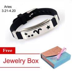Kekasih 925 Perak Disepuh Gelang Tangan 12 Konstelasi Bracelet Gelang Wanita Pria,Aries