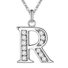 AJKOY 26 English Letters Silver Personalized Couple Commemorative Necklace R - intl