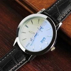 Ajkoy Yazole 296 Kalender Jam Tangan Pria Anti-Air Bercahaya Kuarsa Jam Tangan (Putih/Hitam)-Internasional