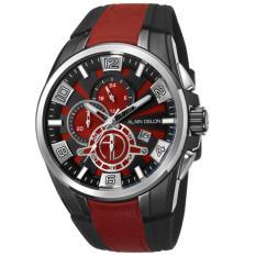 Alain Delon Jam Tangan Pria Alain Delon  AD403-1765C Chronograph Stainless Steel Rubber Black List Red