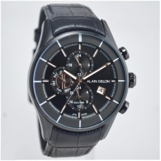 Alain Delon Jam Tangan Pria  Alain Delon  AD405-1732C Dual Time Black Stainless Steel Leather Black