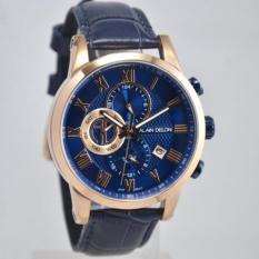Alain Delon Jam Tangan Pria Alain Delon  AD411-1581C Dual Time Rosegold Blue Leather Watch