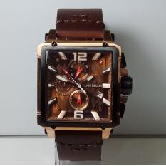 Alain Delon Jam Tangan Pria Alain Delon AD417-1545C Chronograph Black Rosegold Stainless Steel Leather Brown