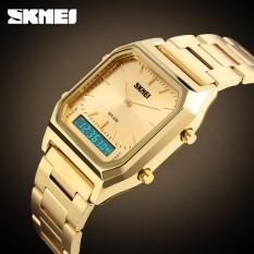 SKMEI Alarm Chronograph pria busana Casual kuarsa Watch Dual Digital jam tangan EL lampu layar  Watch 1220 Masculino Relogio - intl