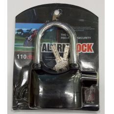 Alarm Lock Gembok Motor Suara Anti Maling Super Kuat / Lock Siren Ring Panjang - Black
