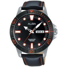 Alba Analog Jam Tangan Pria  - Strap Kulit - Black - AT2045X1