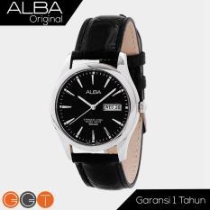 Alba Analog Jam Tangan Pria - Strap Leather - White Black - AXND Series