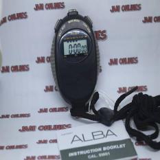 Alba AXA29Z Stopwatch Hitam Black Digital Alarm Original AXA29ZX1