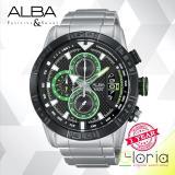 Toko Alba Chronograph Av6047 Jam Tangan Pria Tali Logam Black Green Lengkap Jawa Timur