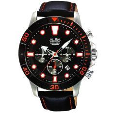 Spesifikasi Alba Chronograph Jam Tangan Pria Hitam Tali Kulit At3A15 Dan Harganya