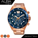Obral Alba Chronograph Jam Tangan Strap Stainless Steel At3904X1 Gold Blue Murah