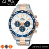 Jual Alba Chronograph Jam Tangan Strap Stainless Steel At3906X1 Gold Blue Alba Asli