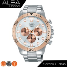 Jual Alba Chronograph Jam Tangan Strap Stainless Steel At3A08X1 Gold White Antik