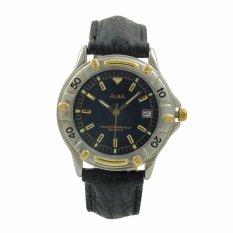 ALBA Jam Tangan Pria - Black Silver Gold - Leather Strap - ATXS92