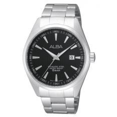 Alba - Jam Tangan Pria - Silver-Hitam - Stainless Steel - AG8387X1