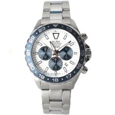 Alba - Jam Tangan Pria - Silver-Putih - Ring Hitam - Stainless Steel - AT3909X1