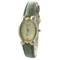 ALBA Jam Tangan Wanita - Green Silver Gold - Leather Strap - ATCY08