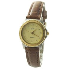 ALBA Jam Tangan Wanita - Silver Gold  Brown - Leather Strap - ATCV34