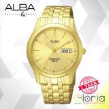 Review Terbaik Alba Prestige Axnd42X1 Jam Tangan Pria Tali Stainless Steel Gold
