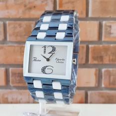 Alexandre Christie AC2182LH Original Jam Tangan Wanita Stainless Ceramic Biru Putih