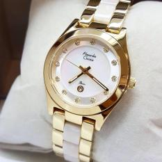 Alexandre Christie AC2477 Jam Tangan Wanita Stainless Ceramic Gold Putih