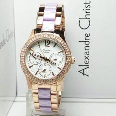 Harga Alexandre Christie Ac2608R Jam Tangan Wanita Stainless Ceramic Rose Gold Ungu Alexandre Christie Terbaik
