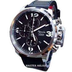Alexandre Christie AC6280MC Jam Tangan Pria Strap Leather hitam silver