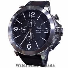 Alexandre Christie AC6281MC Jam Tangan Pria Strap Leather Hitam Silver