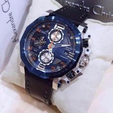 Alexandre Christie AC6373 Jam Tangan Pria Strap Leather Hitam Silver Biru