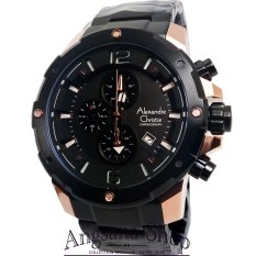 Alexandre Christie Ac6410 - Jam Tangan Fashion Pria Elegant - Stainless Steel Black - Fiture Chronograph - (Black Rose)