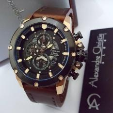 Alexandre Christie AC6416M Jam Tangan Pria Strap Leather coklat tua rose gold