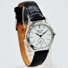 Alexandre Christie AC8031L Jam Tangan Wanita / Cewek Tali Kulit Hitam Silver Inside Putih