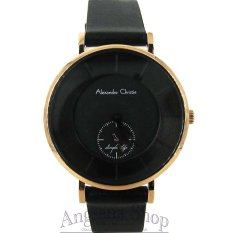 Harga Alexandre Christie Ac8484 Jam Tangan Fashion Wanita Elegant Fiture Simple Analog Frame Gold Strap Leather Black Alexandre Christie Original