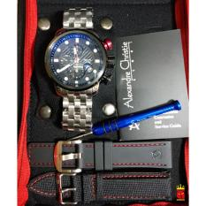 Alexandre Christie Jam Tangan Pria Alexandre Christie AC6163MC Chronograph Silver Stainless Steel Dial Black