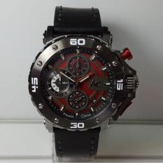 Alexandre Christie Jam Tangan Pria Alexandre Christie AC9205MC AC Collection Grey Red Stainless Steel Leather Black