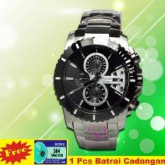 Alexandre Christie Jam Tangan Pria - Silver Black 6455