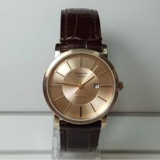 Alexandre Christie Jam Tangan Wanita Alexandre Christie AC8344LD Classic Light Gold Stainless Steel Leather Brown