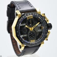 Alexandre Christie Original AC6373M Jam Tangan Pria strap leather hitam gold