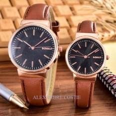 Alexandre Costie – Bonico – Jam Tangan Pria dan Wanita - Body Rose Gold – Black - Dial – Brown Leather Strap – Bonico-2868D-GL-RGB-Couple - Brown Leather Strap