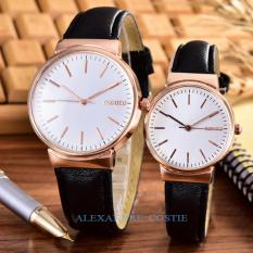 Alexandre Costie – Bonico – Jam Tangan Pria dan Wanita - Body Rose Gold – White - Dial – Black Leather Strap – Bonico – 2868B – RGw - Couple - Black Leather Strap