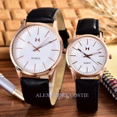 Alexandre Costie – Bonico – Jam Tangan Pria dan Wanita - Body Rose Gold – White - Dial – Black Leather Strap – Bonico-2984B-GL-RGW-Couple - Black Leather Strap